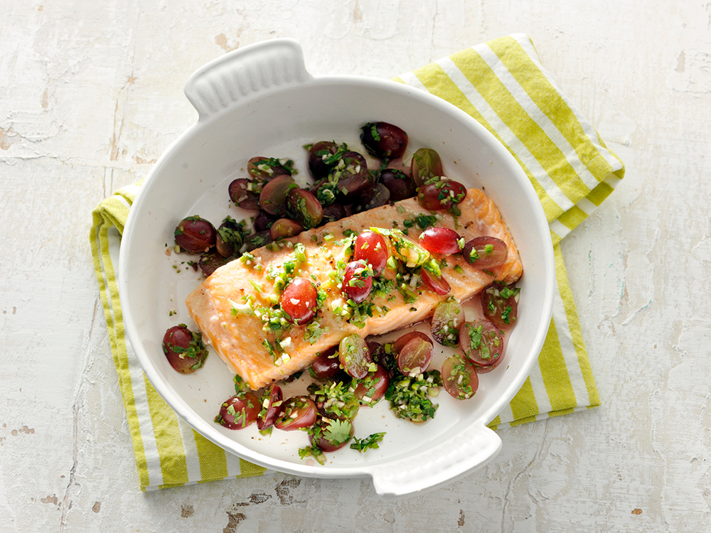 Slow Roasted Salmon with Grapes